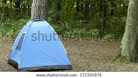 blue tent on a wilderness camp site with trees and woods in the background