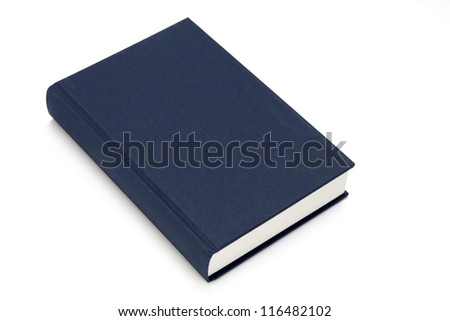 blue textbook closed isolated on white background - stock photo