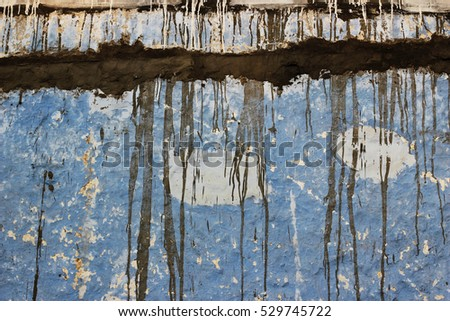 Blue Textured Wall Dripping Cement Background
