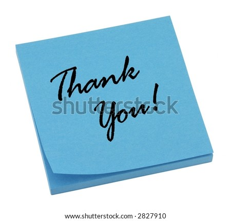 Blue thank you note isolated on white. - stock photo