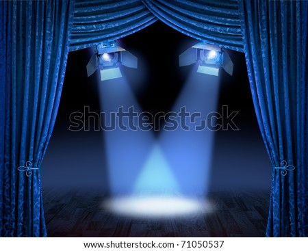 Blue theatre stage curtains with spotlights beams - stock photo