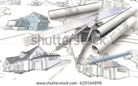 Blue Theme Architectural Workplace. Top View Of Architectural House  Blueprints , Drawings And Sketches.