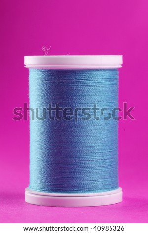blue thread sewing - stock photo