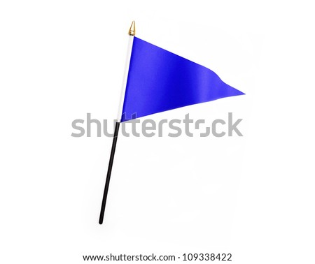Blue three cornered flag isolated on white background - stock photo