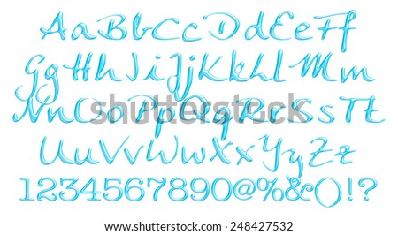 Blue three dimension alphabet set - stock photo