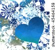 Blue tie dye with heart - stock photo