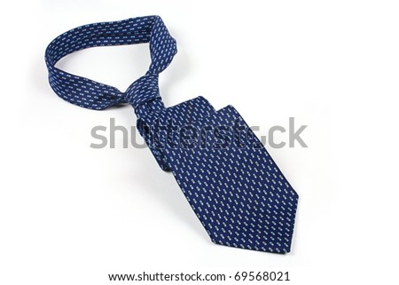 Blue tie isolated on  white background - stock photo