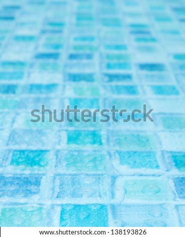 Blue Tiles in Bathroom With Water Drops - Shallow Depth of Field - stock photo