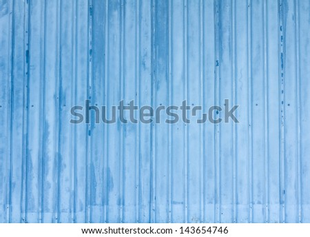 Blue tin fence. background.