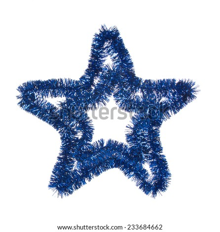 blue tinsel star on white background - stock photo
