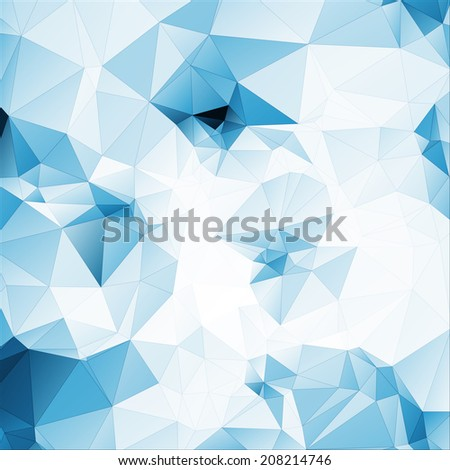 blue tint soft abstract geometric background  stained-glass window with stroke