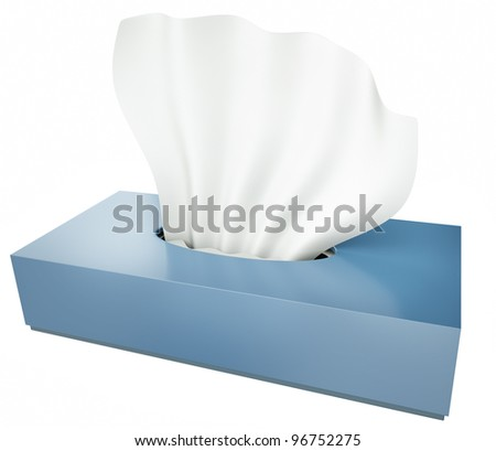 Blue tissue box isolated on white background. 3D render. - stock photo