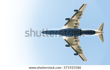 blue to pure white wide-angle passenger jet gradient - stock photo