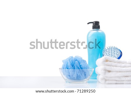 blue toiletry set isolated with white copy space - stock photo