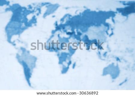 Blue toned blurred world map - stock photo