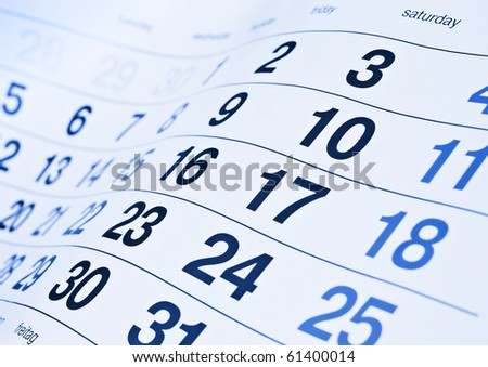 Blue toned calendar page - stock photo