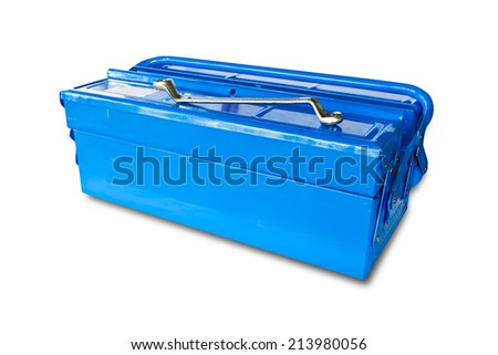 Blue tool box isolated on white background