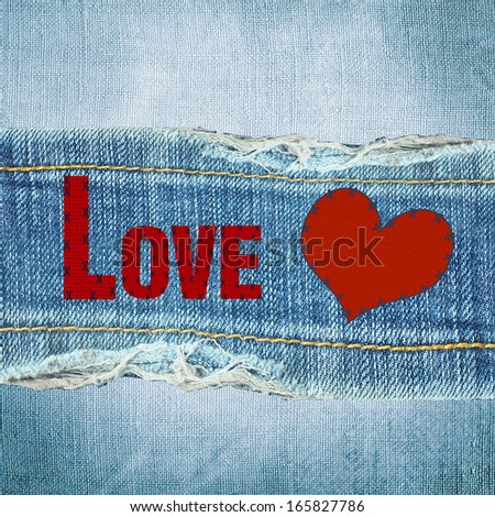 blue torn denim jeans texture with space for text - stock photo
