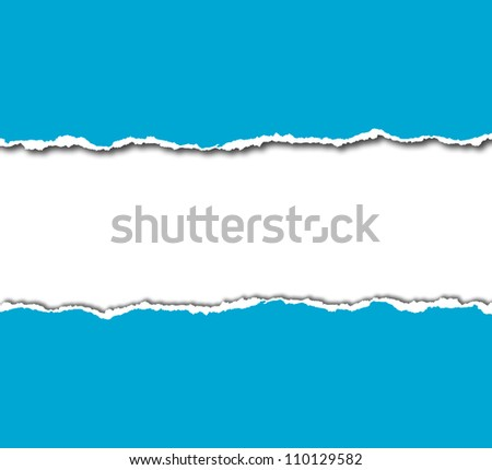 blue torn paper with white copy space - stock photo