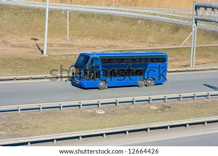 "blue tourist bus - See similar images of this ""Business vehicles"" series in my portfolio - stock photo"
