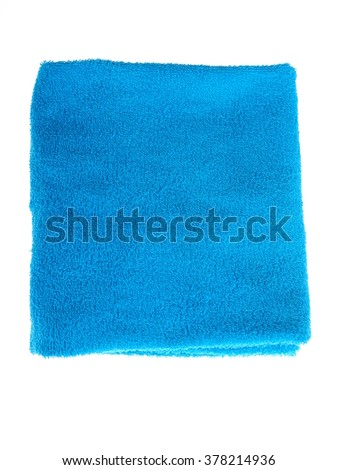 blue towel on a white background - stock photo