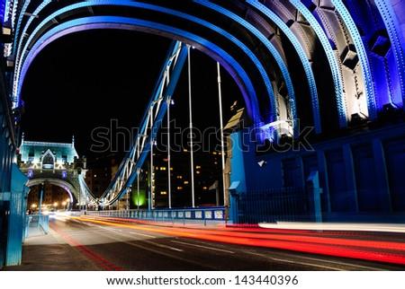 blue tower bridge london by night - stock photo