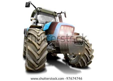 Blue tractor in a white background - stock photo