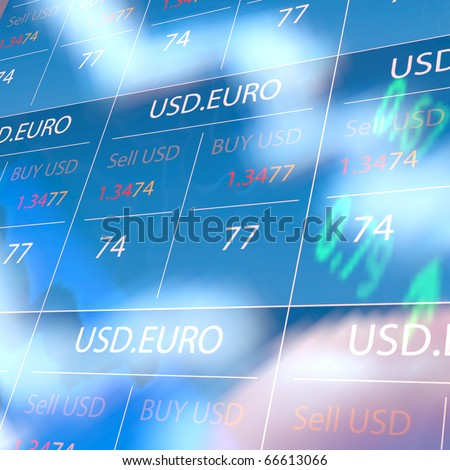 Blue Trading Screen with reflection effect - stock photo