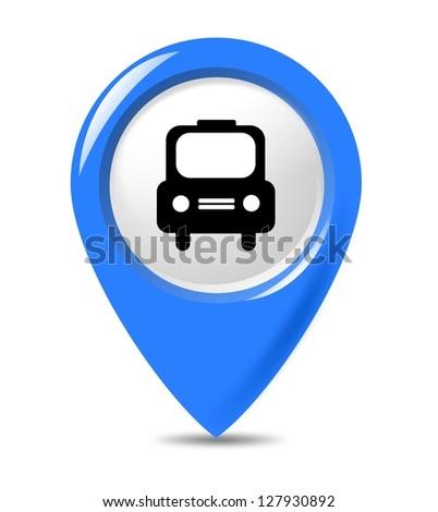 Blue transportation car marker isolated on white background. - stock photo
