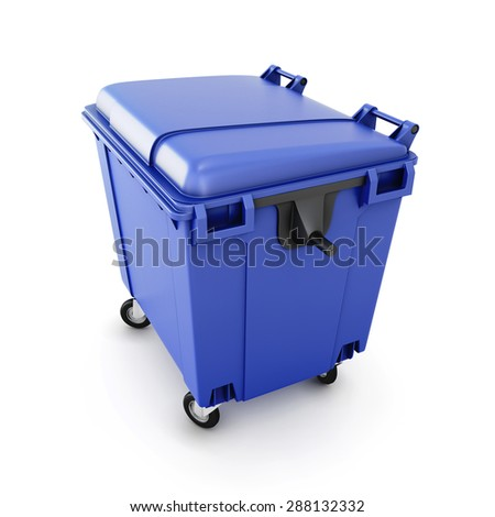 Blue trash can on wheels isolated on white background. 3d illustration.