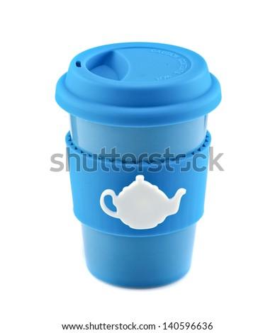 Blue travel mug isolated on white background - stock photo