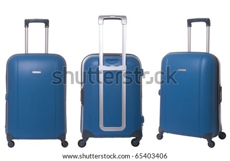 blue travel suitcase collection isolated on white background - stock photo