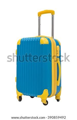 Blue travel suitcase isolated on white background - stock photo