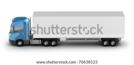 Blue truck with trailer. My own design isolated on white - stock photo