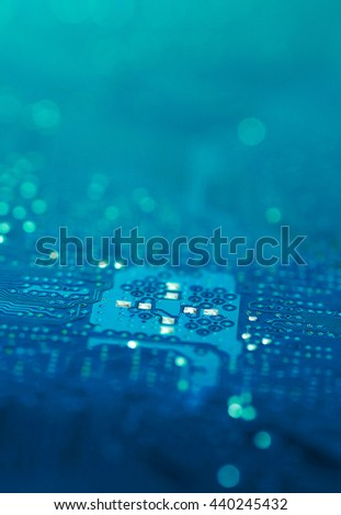 blue turquoise pcb board integrated circuit pc parts motherboard chip texture background - stock photo