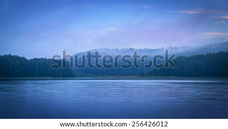 blue twilight over the north lake - stock photo