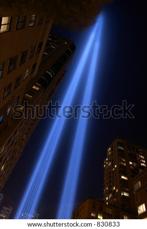 Blue twin tower tribute