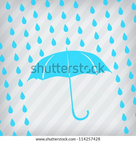 blue umbrella and rain drops on the stripped background