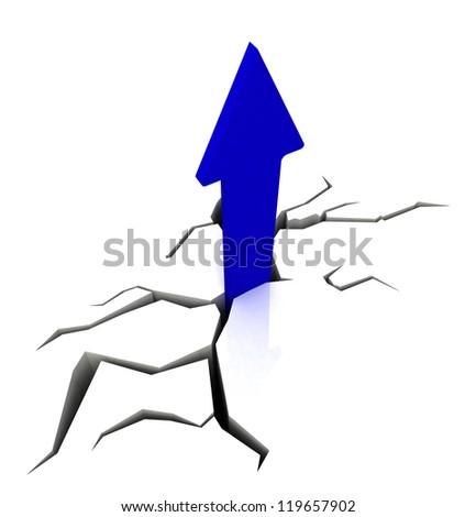 Blue Upward Arrow Showing Breakthrough Profit Achievement - stock photo