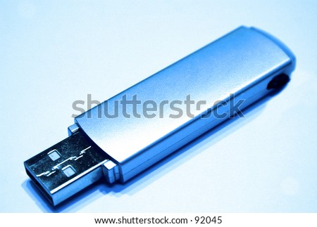 Blue Usb Drive - stock photo