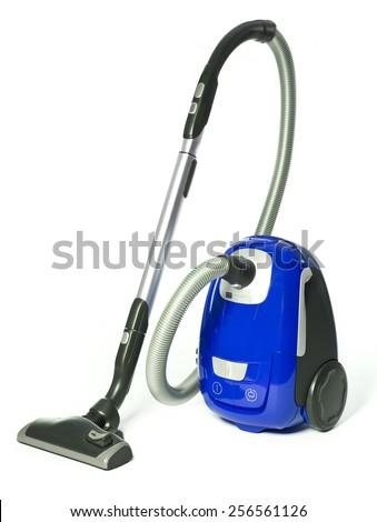 Blue Vacuum Cleaner isolated on white background - stock photo