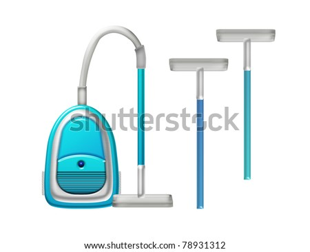 blue vacuum cleaner isolated with replacement isolated over white background