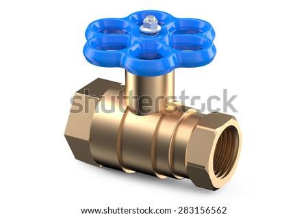 blue valve isolated on white background - stock photo