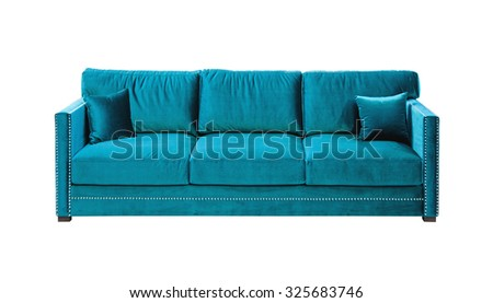 Blue Velvet Sofa Isolated Included Clipping Path - stock photo