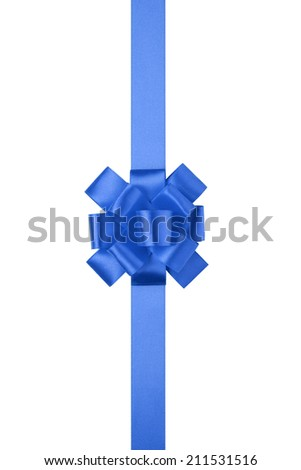 blue  vertical big present or award bow with ribbon, isolated on white - stock photo