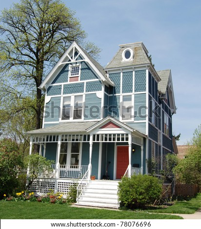 Blue Victorian House - stock photo