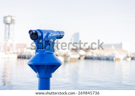 Blue viewpoint to see the scenery - stock photo