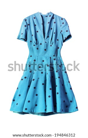 Blue vintage dress with short sleeves isolated over white - stock photo