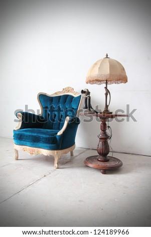 Blue vintage luxury armchair - stock photo