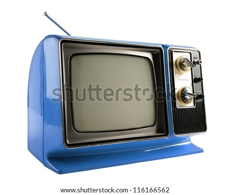 Blue vintage Television isolated over white background